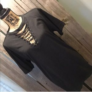 Freeze Black Lace Up Tee XL